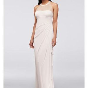 David's Bridal Illusion Neckline Long Formal Dress